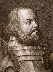 Götz von Berlichingen (1480-1562). A German knight and mercenary; he fought in numerous wars; including against the Ottomans and, as a rebel leader, in the gruesome German Peasant's War. He was a notorious robber and spent lots of time feuding, in prison or in disgrace. He famously used a prosthetic iron hand, one of those being preserved. Writing an autobiography; there also is a play about him by Johann Wolfgang von Goethe.