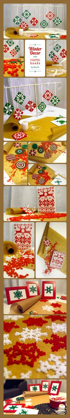 Déco de Noël en perles à repasser - Winter Decor with Hama beads, made by Ania Nowokunska, Warsaw, Poland Hama Beads Design, Hama Beads Patterns, Beading Patterns, Pearler Beads, Fuse Beads, Pixel Art Noel, Iron Beads, Melting Beads, Diy Projects For Kids