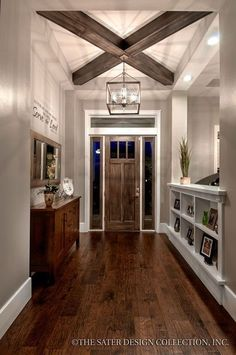 Prairie Pine Court Front Facade - Plan 7083 craftsman home plan- Love the crosse. - Prairie Pine Court Front Facade – Plan 7083 craftsman home plan- Love the crossed coffered ceilin - Style At Home, Rustic Entryway, Modern Entryway, Entry Foyer, Modern Decor, Entry Doors, Rustic Office, Bedroom Rustic, Rustic Modern