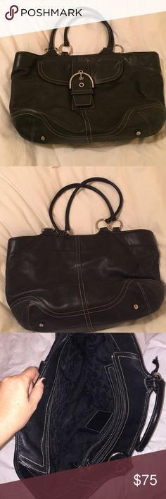 coach laptop bag large coach bag. used as work/laptop bag. minimal use.  has a broken strap that is easily repairable. has original stain storage bag. Coach Bags Laptop Bags