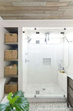 Save space for storage when the new shower goes in.