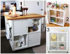 ikea hack kallax shelf to bar cart Ikea Kitchen Cart, Ikea Bar Cart, Diy Bar Cart, Ikea Kitchen Cabinets, Diy Kitchen Storage, Ikea Bar Cabinet, Bar Carts, Kitchen Ideas, Kitchen Island
