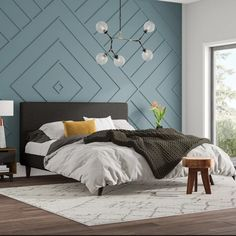 -Delve Upholstered Platform Bed Wall Treatment See it Bedroom Wall Designs, Accent Wall Bedroom, Accent Wall Designs, Feature Wall Bedroom, Wall Molding Designs, Wood Accent Walls, Wood Walls, Home Bedroom, Bedroom Furniture