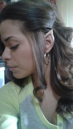 Diy elf ears take scotch tape and wrap around top of ear pinching super easy to do elf ears solutioingenieria Images