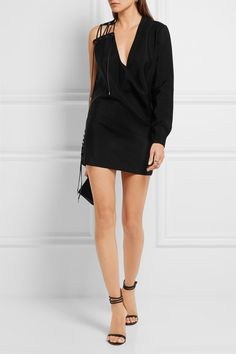 Anthony Vaccarello - One-shoulder lace-up mohair and wool-blend mini dress Fashion Bible, Anthony Vaccarello, Wool Blend, Dress Outfits, Fashion Online, Short Dresses, Cold Shoulder Dress, Lace Up, Street Style
