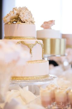 Peach Wedding Cake with Gold Metallic Icing from Tallant House www.alantephotography.com