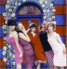 Melanie Hampshire (center) and Celia Hammond (2nd from right) in an unused cover shot for LIFE magazine by Norman Parkinson, 1963.