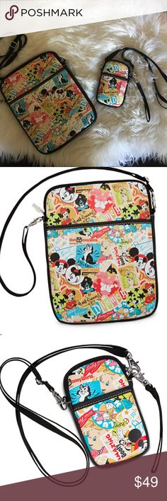 Bundle Disney Parks Classic Collage IPad case Used one time only during vacation, purchase at Disneyland for $89 plus tax and phone case for $34.99.  Product description   Collage print pattern features Mickey, Minnie, Donald, Daisy, Goofy, Tinker Bell, Figaro, Bambi, Thumper, Dumbo, Ariel, plus classic Disneyland, Walt Disney World, and Mickey Mouse Club logos, Walt Disney signature, and more *  Zip closure with metal D-Tech logo pull  Two interior pockets  Exterior pocket  Lined…