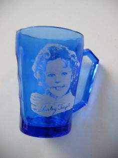 Vintage Shirley Temple Small Cup Cobalt Blue Glass by nolaCENTRIC, $15.00