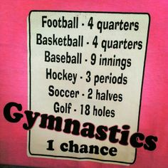 Gymnastics only 1 chance