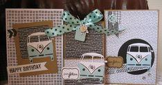 Combi Ww, Scrapbooking, Men's Cards, Marianne Design, Vw Bus, Atc, Holiday Decor, Happy, Men