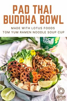 Ramen Pad Thai Buddha Bowl with Tom Yum Rice Ramen Noodle Soup Cup – Lotus Foods Ramen Noodle Soup, Ramen Noodles, Food Inc, Buddha Bowl, Pad Thai Sauce, Butter Rice, Food Stamps, Lotus, Cooking Recipes