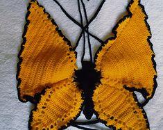 Crochet Halter Tops, Crochet Crop Top, Cute Crochet, Crochet Bikini, Crochet Dolls, Knit Crochet, Crotchet, Butterfly Top, Crochet Butterfly