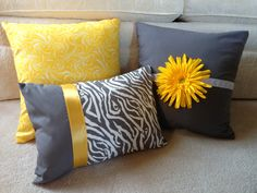 decorative bed pillows--with a lot of help from my mom!