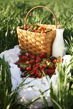 A berry special picnic. I love this picnic picnic Picnic Time, Summer Picnic, Picnic Parties, Beach Picnic, Country Life, Country Living, Country Charm, Rustic Charm, Strawberry Patch