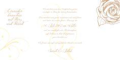 Auch die Innenseiten dieser Hochzeitseinladungskarte sprechen für sich: eine gezeichnete Rose und florale Ornamente sehen auf dieser Hochzeitskarte einfach toll aus.