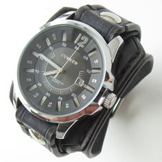 Black Leather Watch Cuff Men s watch Leather by loversbracelets 41f73df0b0