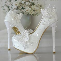 2016 NEW Butterfly pearl wedding shoes bridal shoes lace pump shoes