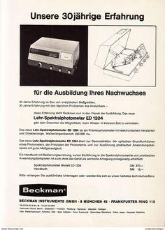 Werbung - Original-Werbung/ Anzeige 1966 - SPEKTRALPHOTOMETER / BECKMAN INSTRUMENTS - MÜNCHEN - ca. 200 x 280 mm