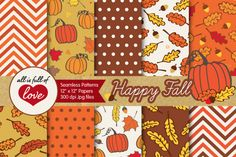 Fall Digital Background:: Orange and Brown Patterns with leafs, pumpkins, acorns, polka dots and chevron tileablepatterns You get 10 High Quality Sheets::JPG files size 12x12 incheswith300 dpi jpg, for perfect printing or digital use. These have so many uses, they are great for scrapbooking, crafts, party decor, DIY projects, blogs, stationery& more. All patterns are original and copyrighted by All is Full of Love