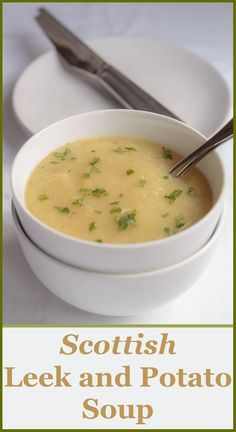 A simple healthier Scottish leek and potato soup. Still as deliciously creamy and smooth tasting as the original but as it's not made with butter or cream, it's so much more healthier! Scottish Leek and Potato Soup Scottish Dishes, Scottish Recipes, Irish Recipes, Soup Recipes, Vegetarian Recipes, Cooking Recipes, Healthy Recipes, Recipies, Healthy Meals