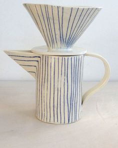 paula greif, striped coffee dripper