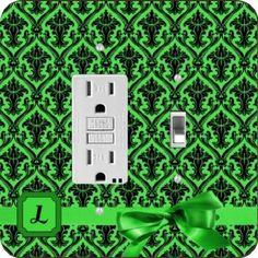 "Rikki KnightTM Letter ""L"" Green Monogram Damask Bow GFI Toggle Light Switch Plate"