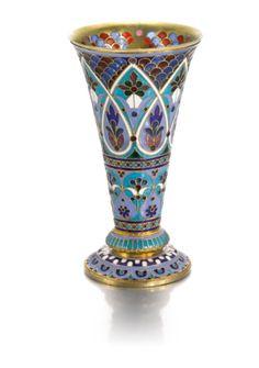 silver-gilt and plique-à-jour enamel vase, Antip Kuzmichev, Moscow, circa 1890