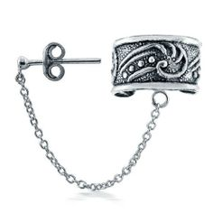 Bling Jewelry Celtic Swirls Sterling Silver Ear Cuff One Piece Bling Jewelry. $16.99. .925 sterling silver. Celtic antique style ear cuff. 1.75in L x .39in W. Total Weight 1.6 grams. No piercing necessary. Save 53%!