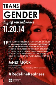 Transgender Day of Remembrance. Courtesy of the National Minority AIDS Council. www.nmac.org