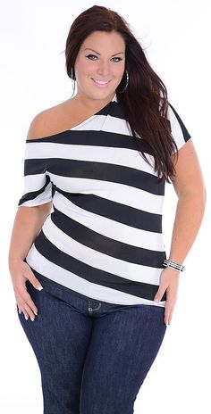 Cheap Plus Size Clothes #slimmingbodyshapers   Who says plus size can't wear horizontal stripes? Work it gorgeous! slimmingbodyshapers.com