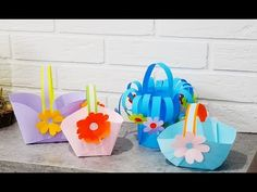How To Make 3 Beautiful Baskets With Paper! Easter Crafts, Past, Baskets, Beautiful, Youtube, Past Tense, Hampers, Basket, Youtubers
