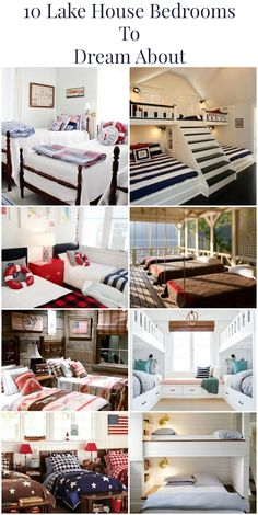 10 Lake House Bedrooms To Dream About – Watercraft. Informations About 10 Lake House Bedrooms To D Home Bedroom, Bedroom Decor, Lake House Bedrooms, Kids Bedroom, Bedroom Ideas, Small Lake Houses, Small Cottages, Country Cottages, Minions