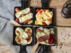 Vier Gourmet-Pfännchen mit herzhaft-süßen Kombinationen.