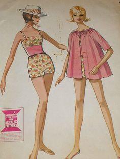 Vintage 60s McCalls 6861 Bathing Suit Romper Cover Up  Pattern 34B sz 14
