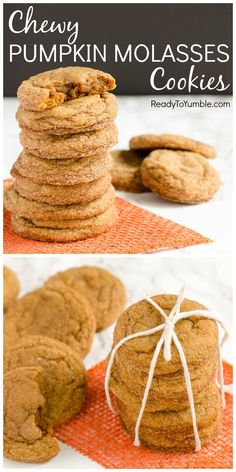 These Chewy Pumpkin Molasses Cookies are my new favorite fall dessert! The pumpkin and molasses combine with warm spices for the perfect soft and chewy cookie.