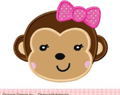 Monkey Girl Animal Machine Embroidery Applique Design -4x4 5x5 6x6 inch
