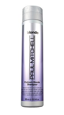 Purple or blue shampoo: Who knew?    Switch to a tinted one (we like Paul Mitchell Forever Blonde Platinum Blonde Shampoo, $13) once a week. It leaves behind and undetectable layer of violet color, which neutralizes brassiness.
