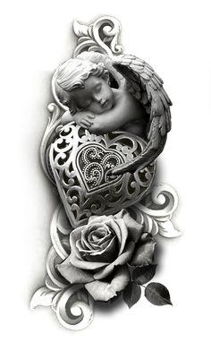 For Miss Lilliann Grace Angel Tattoo Drawings, Angel Tattoo Designs, Tattoo Design Drawings, Tattoo Sleeve Designs, Tattoo Sketches, Sleeve Tattoos, Rose Tattoos, Body Art Tattoos, Christus Tattoo