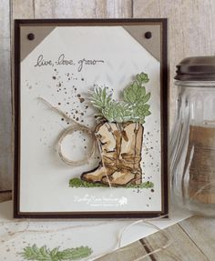 Birthday Boots.... | Rambling Rose Studio | Billie Moan   Paper:  Crumb Cake, Early Espresso, Soft Suede and Very Vanilla Cardstock, plus water color paper Ink:  Crumb Cake, Soft Suede, Early Espresso, Pear Pizazz, Old Olive, Soft Sky Stamps:  Country Liv