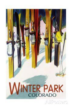 Winter Park, Colorado - Colorful Skis Art Print