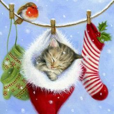 Christmas Kitten on a Clothesline -- by Lisa Alderson; for more info on this artist or to view his/her folio see website.