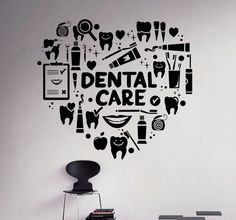 Dental Care Wall Decal Dentist Vinyl Sticker Wall Art Decor Home Interior Bathroom Design Dental World, Dental Life, Dental Art, Dental Health, Dental Humor, Dental Hygienist, Dental Office Decor, Emergency Dentist, Dental Office Design