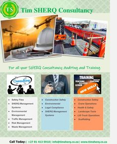 Contact us for all your SHERQ Consultancy; Auditing and Training and many more! Dennis on +27 81 413 5910 or email us on info@timsherq.co.za Construction Safety, Lifted Trucks, Health And Safety, Coaching, Management, Training, Truck Lift Kits, Work Outs, Excercise
