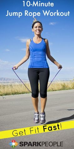 Maximize your fat burn in just 10 minutes with this cardio interval jumping rope workout. You can follow along with a pretend jump rope if you don't have one! | via @SparkPeople #fitness #exercise