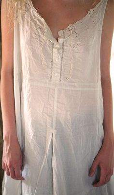 Celestial....Cotton Eyelet Sitka Tank Dress with Cotton Lace Inserts, Drawstring & Button Neckline $300.00