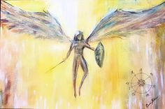 Arch Angel Michael Painting by Carrie Kohan Carrie, Watercolor Tattoo, Arch, Angel, Artwork, Painting, Longbow, Work Of Art, Auguste Rodin Artwork