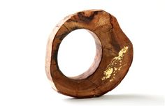 Lovely wooden ring with gold leaf by Tammar and Elinor. I'll take one please..