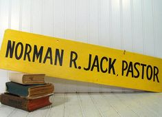 Vintage Wooden Hand Painted Pastor Sign  Norman R by DivineOrders, $22.00