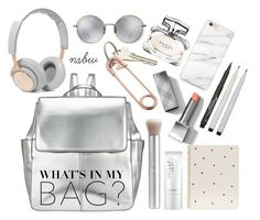 """""""What's in my bag?"""" by nsbw ❤ liked on Polyvore featuring Kin by John Lewis, Linda Farrow, CB2, NARS Cosmetics, Burberry, Gucci, Faber-Castell, Sugar Paper, B&O Play and backpack"""